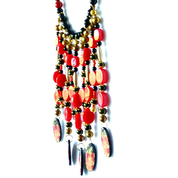Black and Red Boho Bib Necklace - Necklace - 4