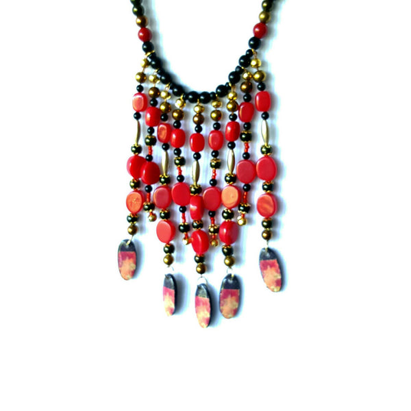 Black and Red Boho Bib Necklace - Necklace - 5