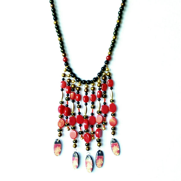 Black and Red Boho Bib Necklace - Necklace - 3