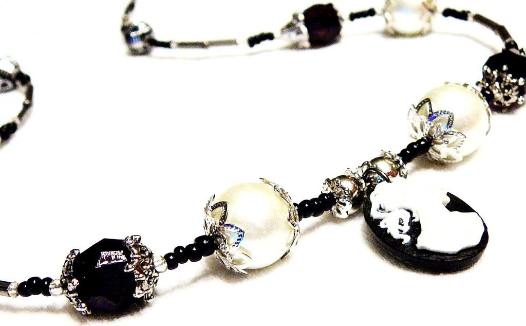 Black and White Beaded  Faux Pearl & Silhouette Morticia Necklace by Mystic Trinket Shop - Necklace - 1