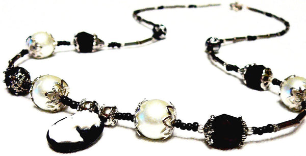 Black and White Beaded  Faux Pearl & Silhouette Morticia Necklace by Mystic Trinket Shop - Necklace - 2