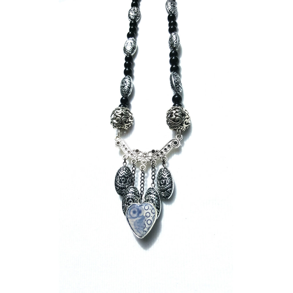 Black Beaded Owl Necklace - Necklace - 1