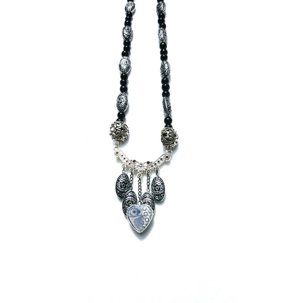 Black Beaded Owl Necklace - Necklace - 2
