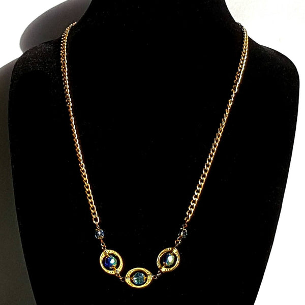 Blue and Gold Beaded Necklace - necklace - 1