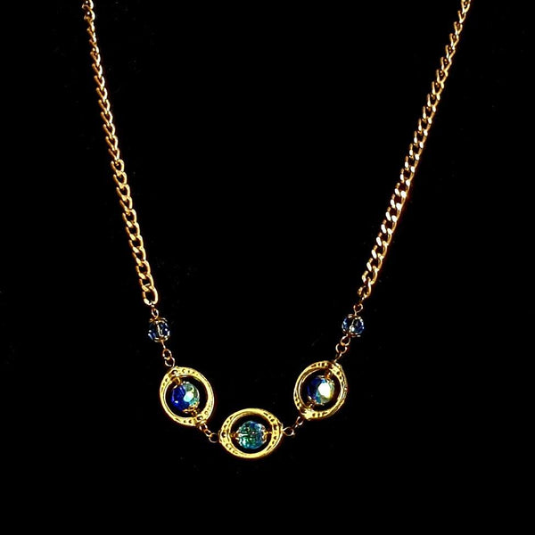 Blue and Gold Beaded Necklace - necklace - 2