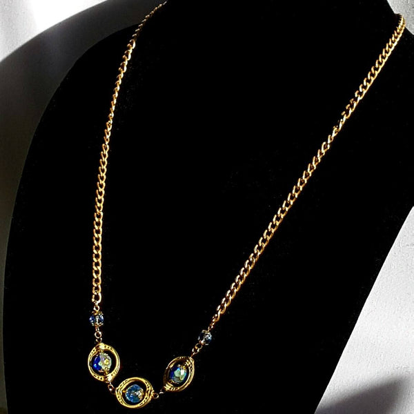 Blue and Gold Beaded Necklace - necklace - 3