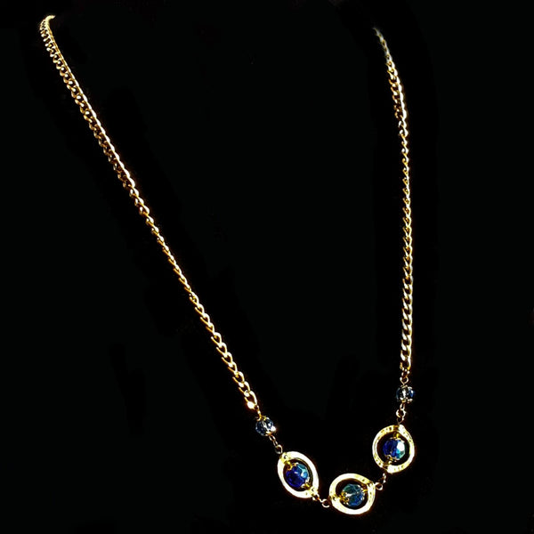 Blue and Gold Beaded Necklace - necklace - 4