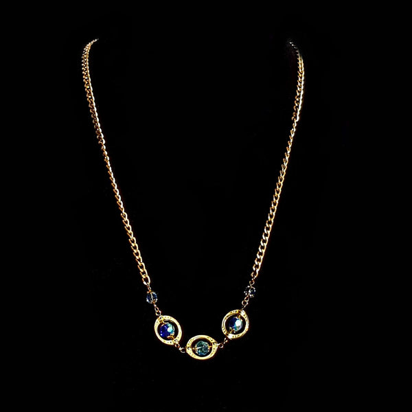 Blue and Gold Beaded Necklace - necklace - 6