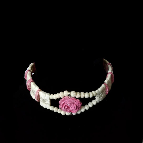 Clay and Carved Bone Rose Choker - necklace - 4