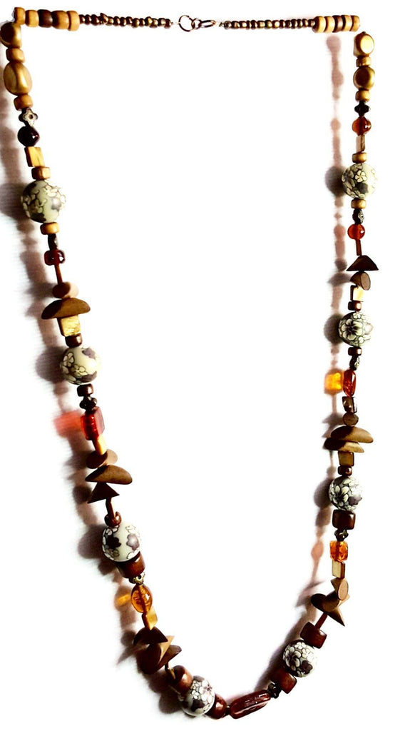 Donate to the Urban League -  Necklace Wood Bead and Glass Necklace | MysticTrinketShop.com - Necklace - 1