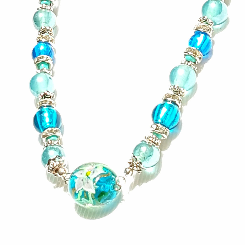 Glass Beaded Choker Necklace in Translucent Blue - Necklace - 1