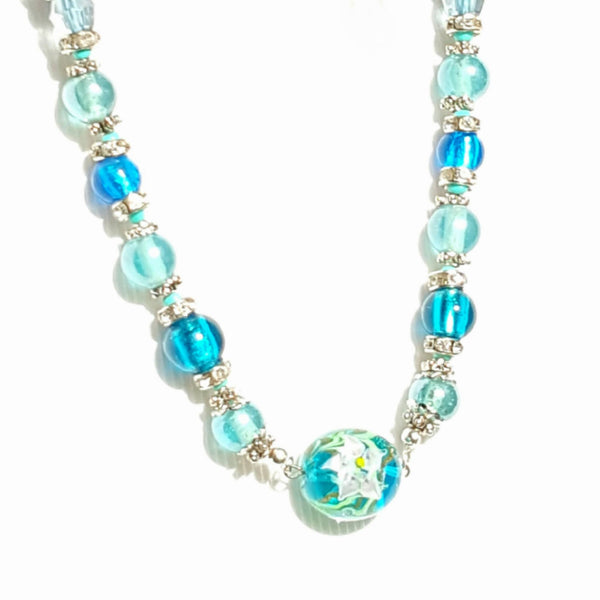 Glass Beaded Choker Necklace in Translucent Blue - Necklace - 2