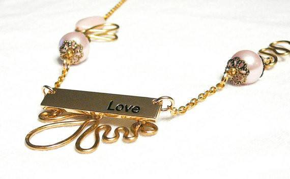 Gold and Pink Love Necklace by Mystic Trinket Shop - Necklace - 2