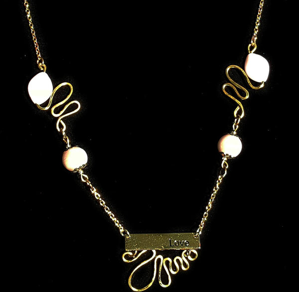 Necklace - Gold And Pink Love Necklace By Mystic Trinket Shop