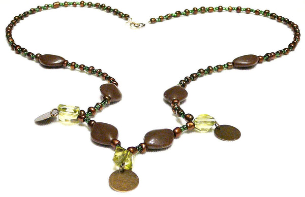 Green & brown Beaded Necklace Moirae Necklace by Mystic Trinket Shop - Necklace - 4