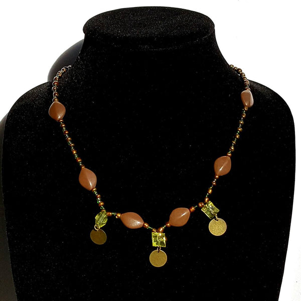 Green & brown Beaded Necklace Moirae Necklace by Mystic Trinket Shop - Necklace - 1