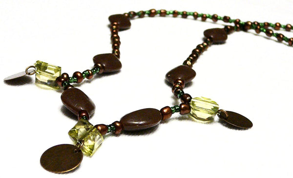 Green & brown Beaded Necklace Moirae Necklace by Mystic Trinket Shop - Necklace - 5