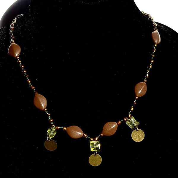 Green & brown Beaded Necklace Moirae Necklace by Mystic Trinket Shop - Necklace - 3