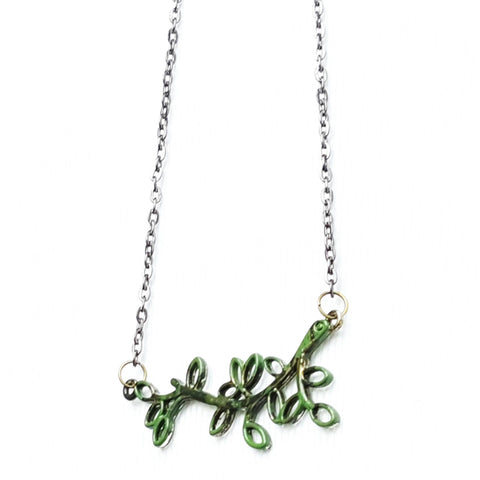 Hand painted Branch Necklace in Green - Necklace - 1