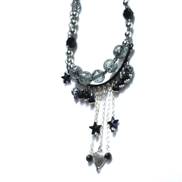 Hot Air Balloon Fringe Necklace Silver Finish - Necklace - 4