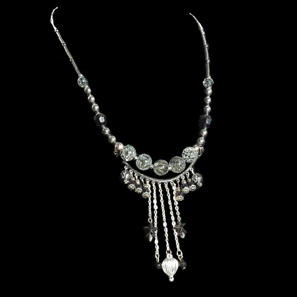 Hot Air Balloon Fringe Necklace Silver Finish - Necklace - 3