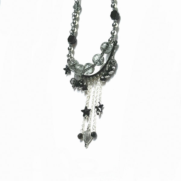 Hot Air Balloon Fringe Necklace Silver Finish - Necklace - 6