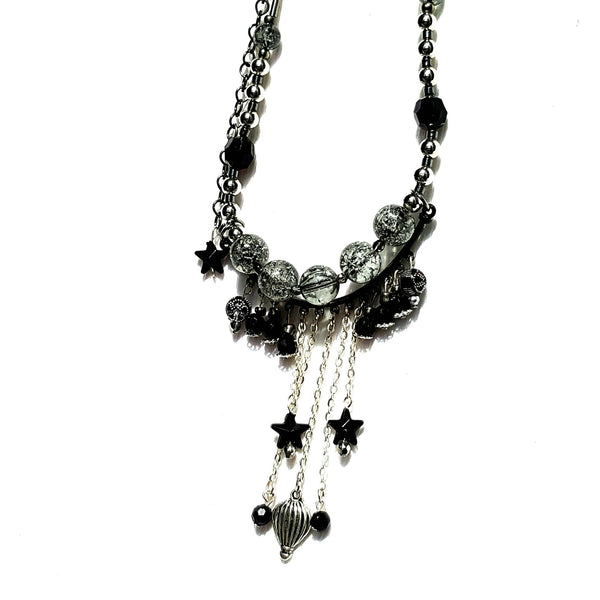 Hot Air Balloon Fringe Necklace Silver Finish - Necklace - 2