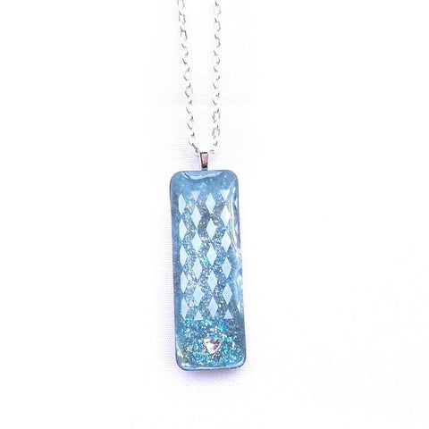 Necklace - Layered Sparkle Blue Bar Necklace