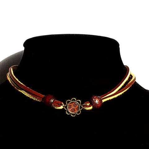 Leather Flower Choker - Necklace - 1