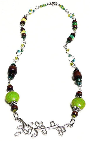 Nature Inspired Necklace Green Wood Beaded - Necklace of Pan - Mystic Trinket Shop - Necklace - 1