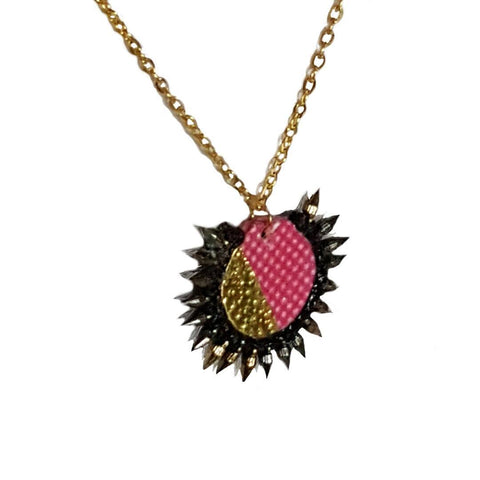 Necklace - PInk and Gold Spiked | MysticTrinketShop.com - Necklace - 1