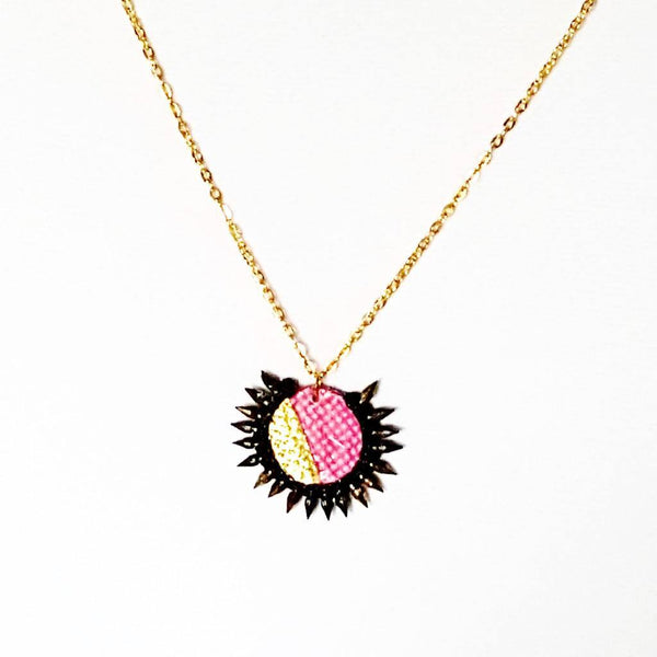 Necklace - PInk and Gold Spiked | MysticTrinketShop.com - Necklace - 3
