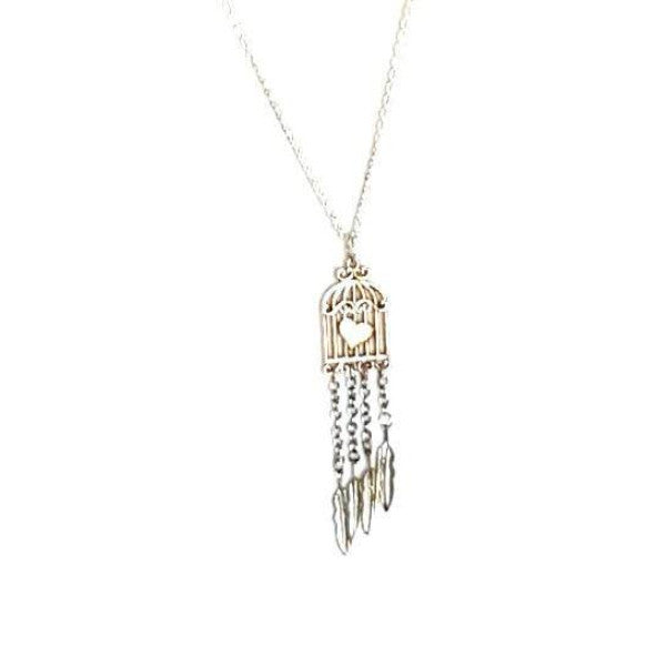 Necklace - Silver Feather Birdcage Necklace | MysticTrinketShop.com - Necklace - 1