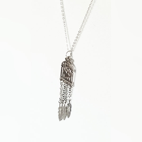 Necklace - Silver Feather Birdcage Necklace | MysticTrinketShop.com - Necklace - 2