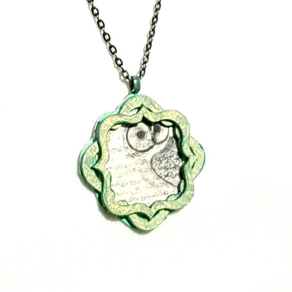 Owl Pendant Necklace with Music Notes - Necklace - 1