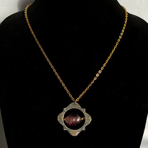 Purple Glass Bead Pendant Necklace - Necklace - 2