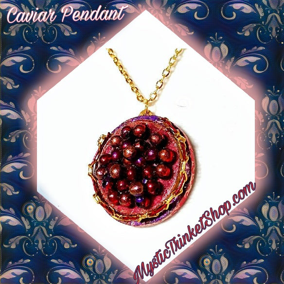Red Caviar Pendant Necklace - Necklace - 9