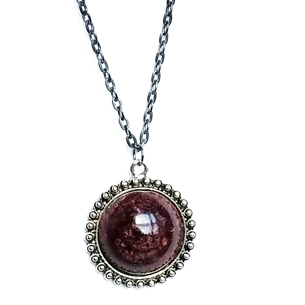 Round Orb Necklace in Maroon - Necklace - 1