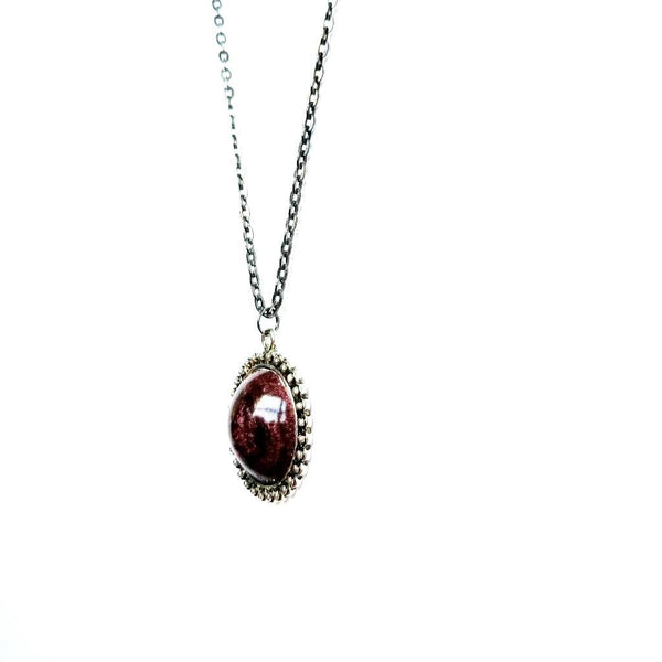 Round Orb Necklace in Maroon - Necklace - 3