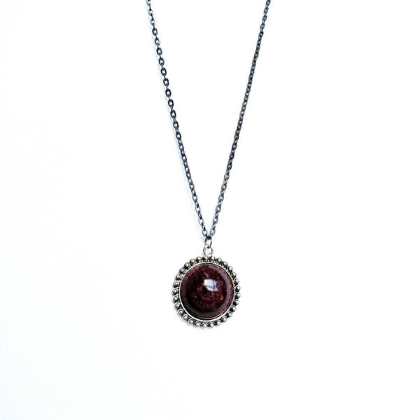 Round Orb Necklace in Maroon - Necklace - 4