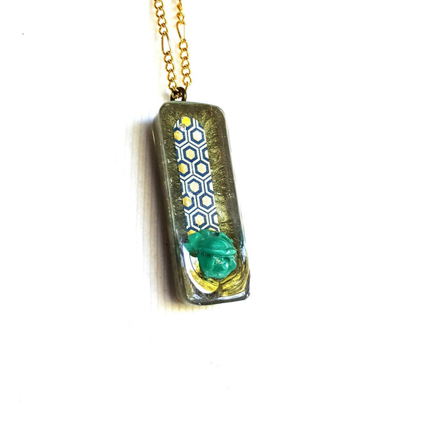 Shimmering Green Rose Pendant Necklace - Necklace - 1