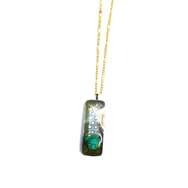 Shimmering Green Rose Pendant Necklace - Necklace - 3