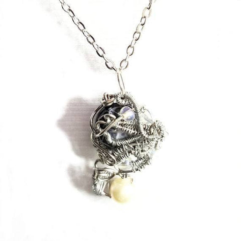 "Silver Wrapped Pendant Necklace ""Sea Creature"" Necklace - Necklace - 1"
