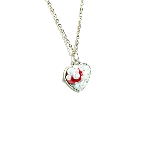 White and Red Heart Pendant Necklace - Necklace - 1