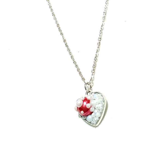 White and Red Heart Pendant Necklace - Necklace - 2