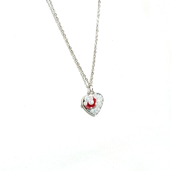 White and Red Heart Pendant Necklace - Necklace - 3