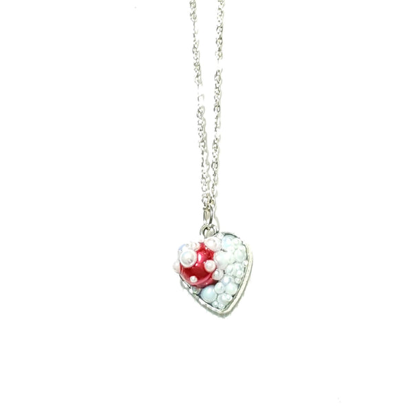 White and Red Heart Pendant Necklace - Necklace - 4