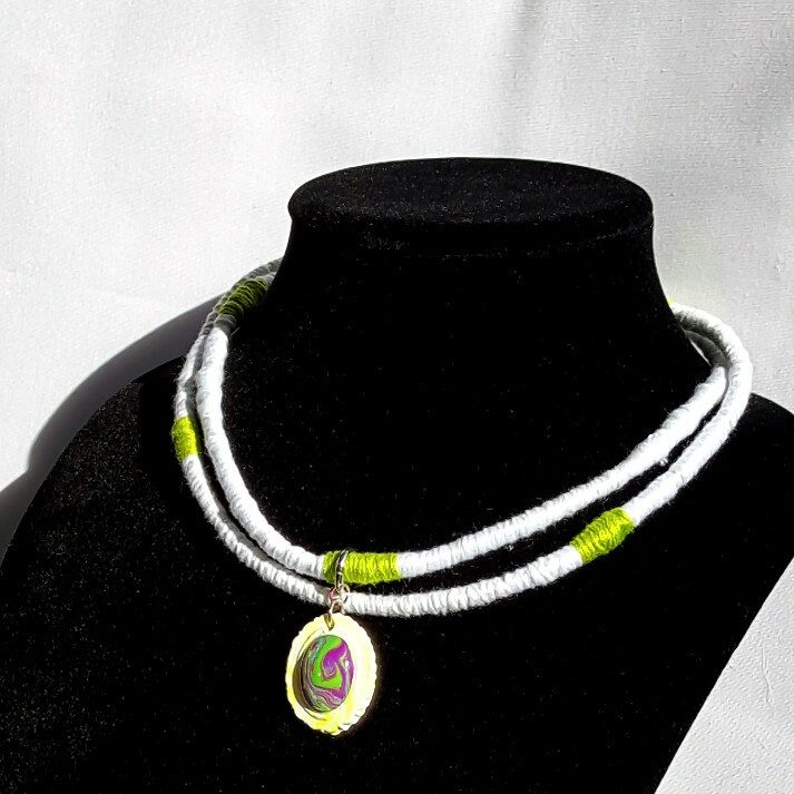 White Cord Wrapped Pendant Necklace - Necklace - 1