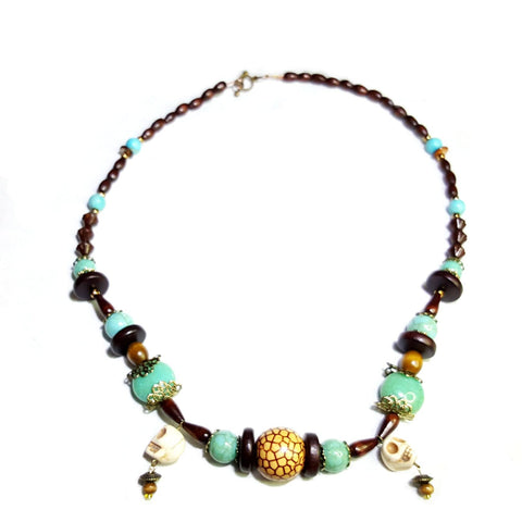 Wood and Turquoise Colored Tribal Skull Necklace - Necklace - 1