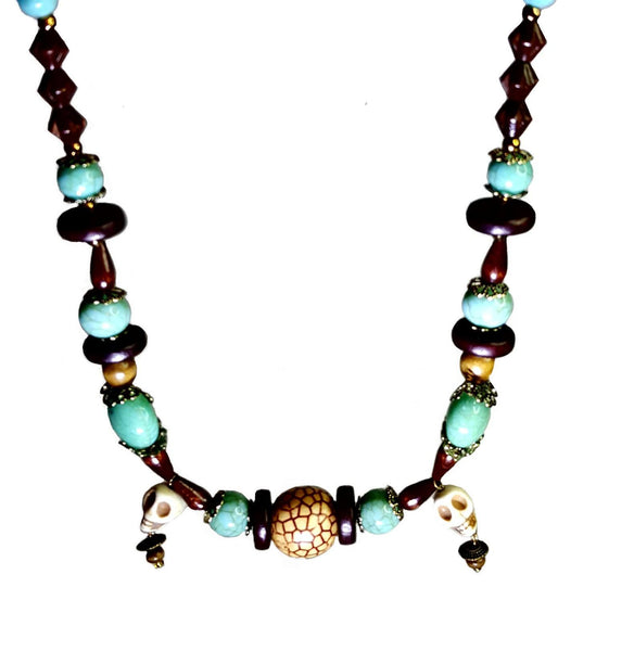 Wood and Turquoise Colored Tribal Skull Necklace - Necklace - 2
